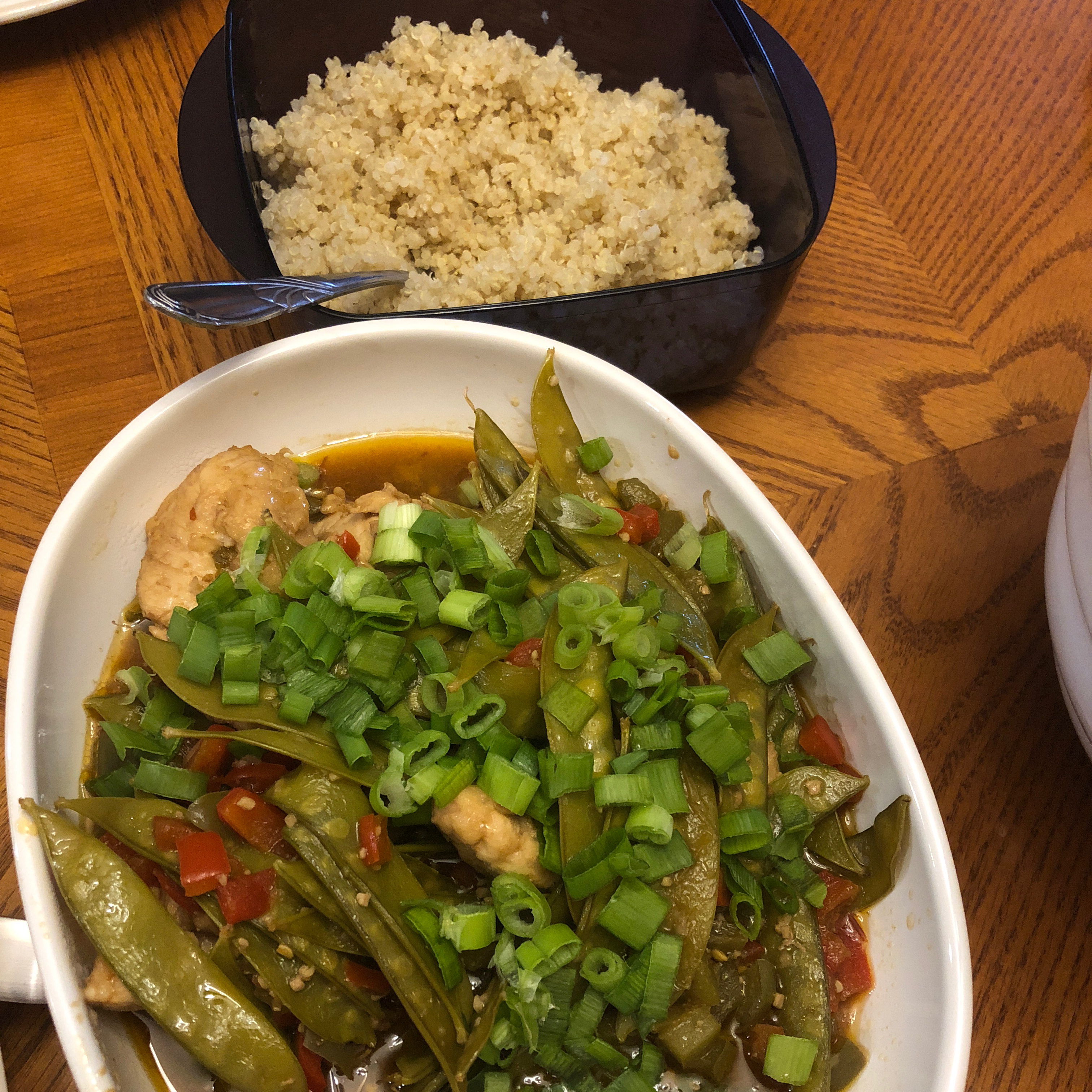 Szechuan Chicken, Peppers, and Peas on Rice charmaine10