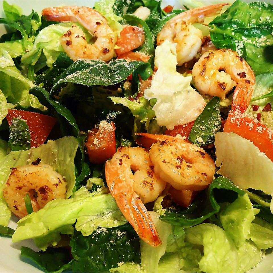 Greek-Style Shrimp Salad on a Bed of Baby Spinach hungryallweighs