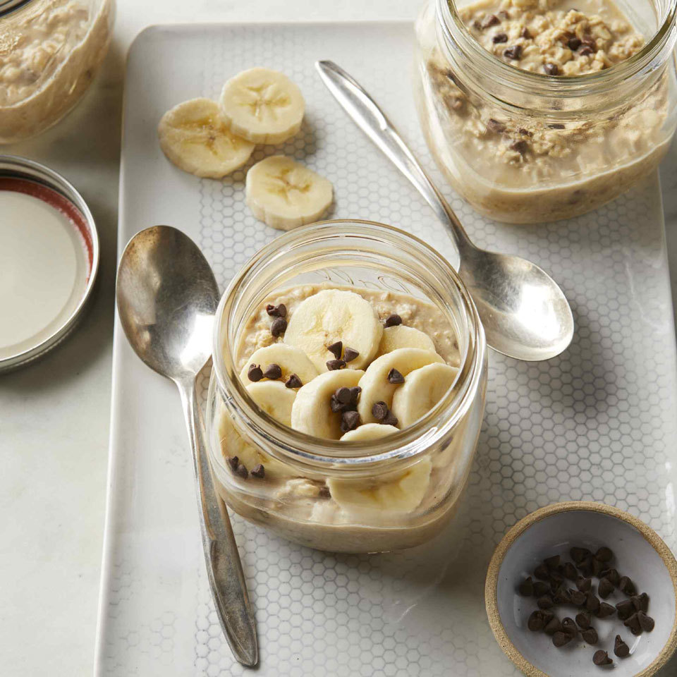 Peanut Butter-Chocolate Chip Overnight Oats with Banana Carolyn Casner