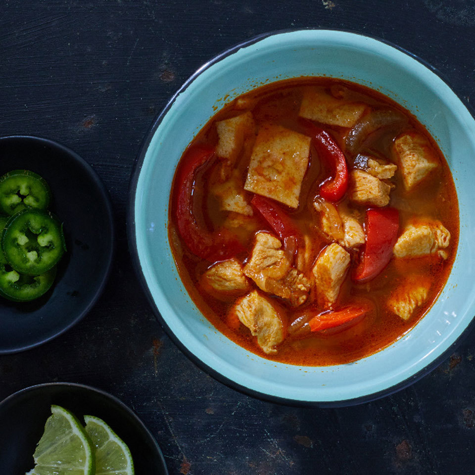 You can whip up this simple, spicy soup in a flash. This Mexican-inspired soup, with all the flavors of chicken fajitas, uses corn tortillas to help thicken the soup, keeping it gluten-free and adding tons of delicious flavor. Source: EatingWell.com, September 2018