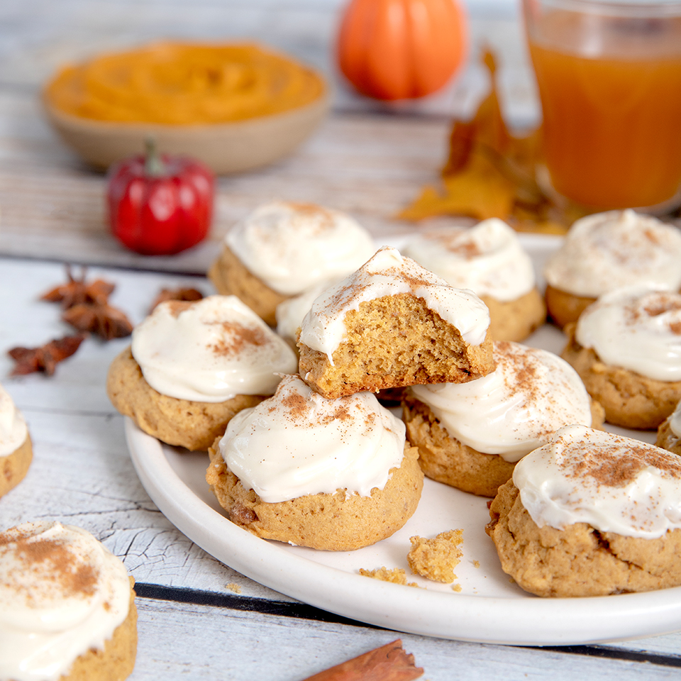 Brown Butter Pumpkin Cookies with Cream Cheese Icing
