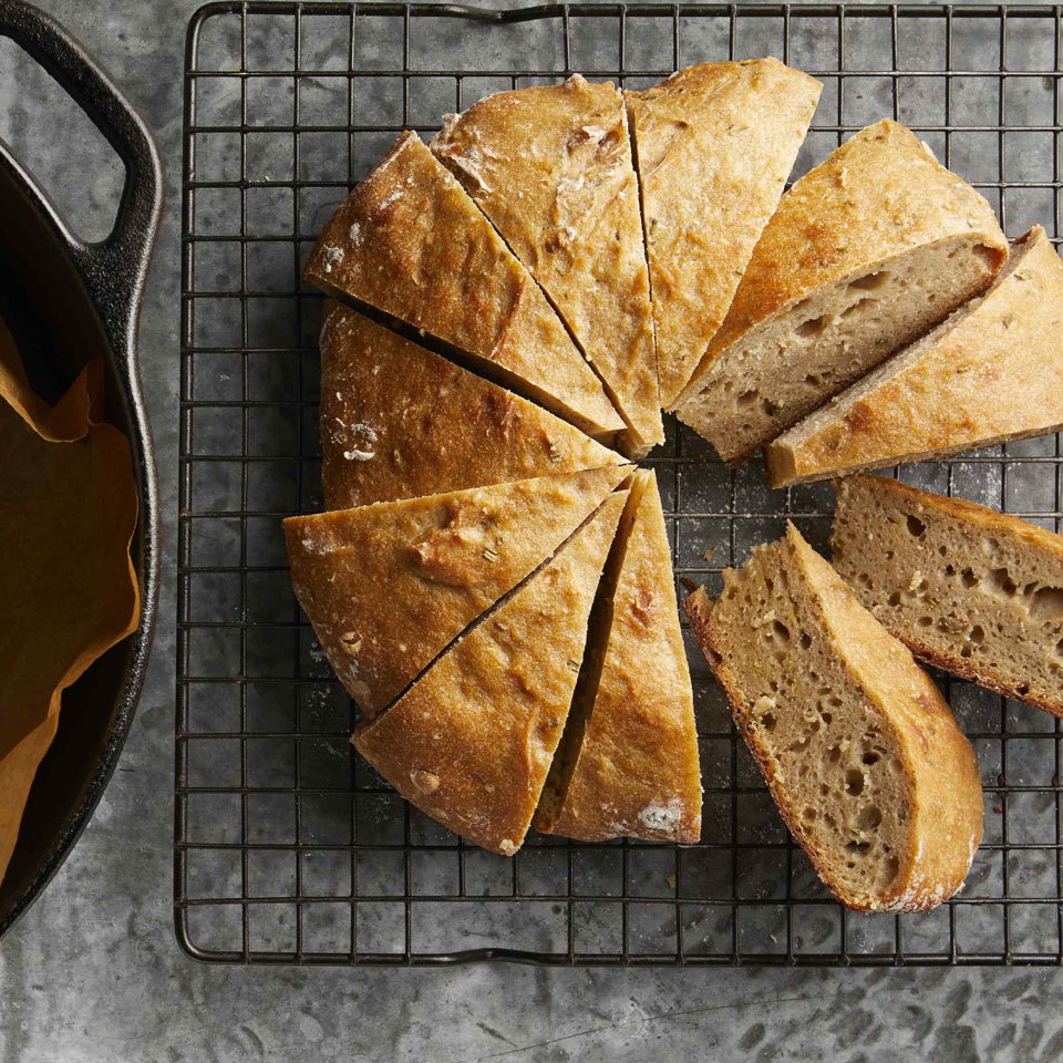 This easy no-knead bread can be made with any number of mix-ins for several variations on a go-to whole-wheat bread that's the perfect addition to any meal, cheese board or appetizer spread. Our favorite combination was rosemary and lemon zest, but you can't go wrong with olives or dried cranberries and pecans, either. Source: EatingWell.com, September 2018