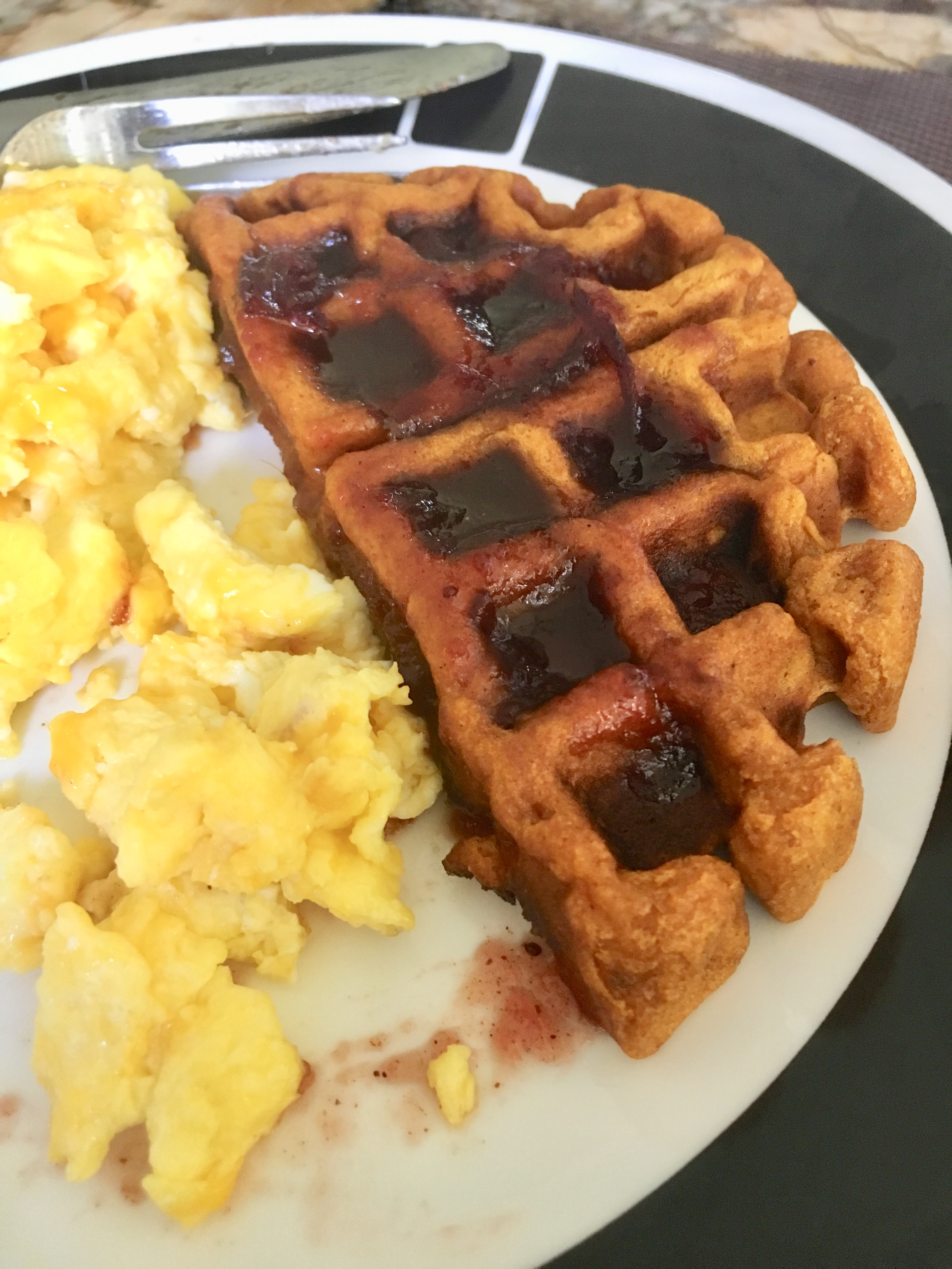 Sweet Potato Waffles with Cranberry Maple Syrup Gilda George