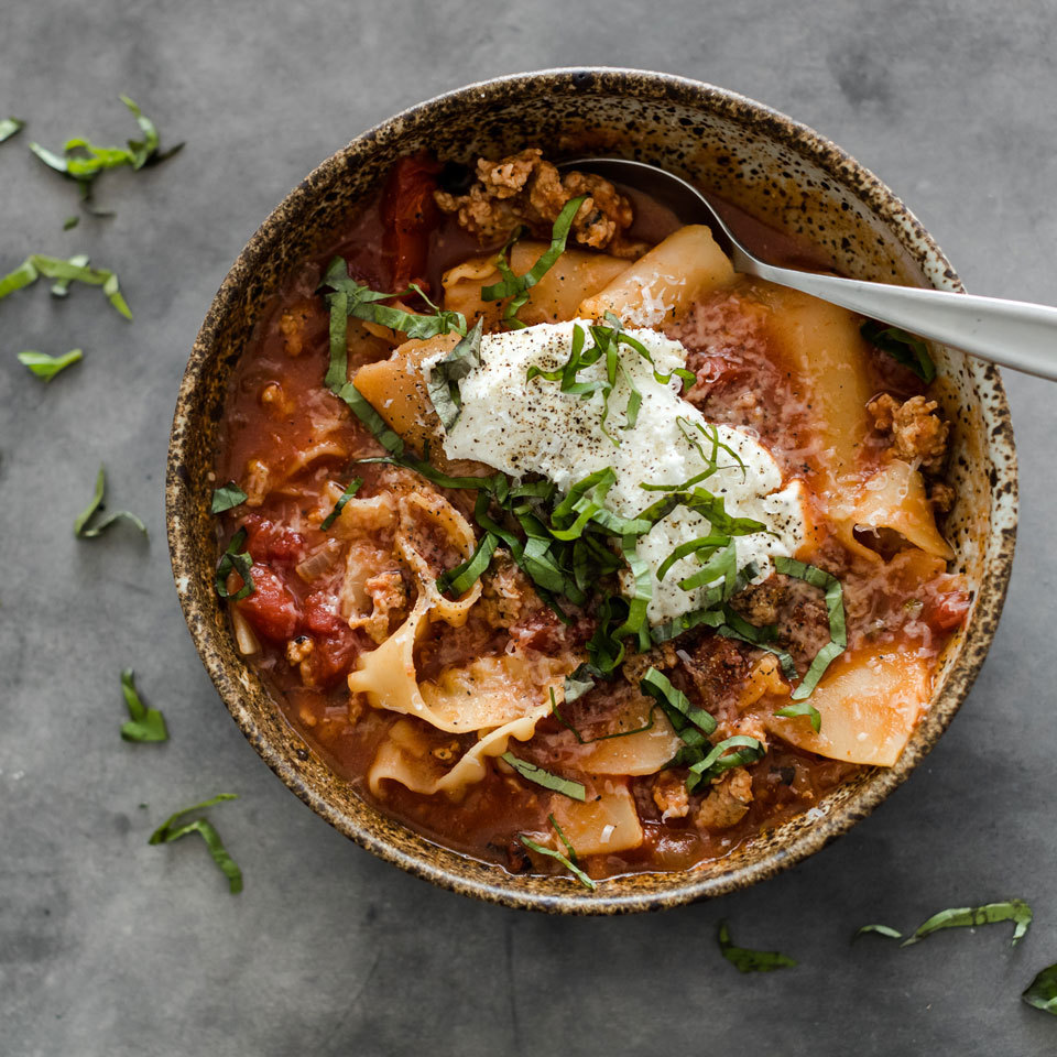 This satisfying and hearty soup has all the flavors of lasagna, but without the fuss of layering ingredients in a baking dish and waiting for the lasagna to bake. Here, we take advantage of the multicooker to prepare a soup that is ready in 10 minutes. Just top the soup with ricotta and Parmesan and enjoy! Source: EatingWell.com, September 2018