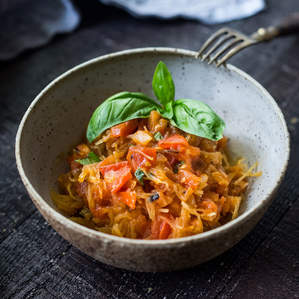 Swapping spaghetti squash for pasta is a great way to cut back on carbs and calories in this saucy vegan dinner. Here, we have tossed the squash with a simple fresh tomato sauce. Jazz up the sauce with crushed red pepper flakes, Kalamata olives and/or capers, if you like. Source: Eatingwell.com, September 2018
