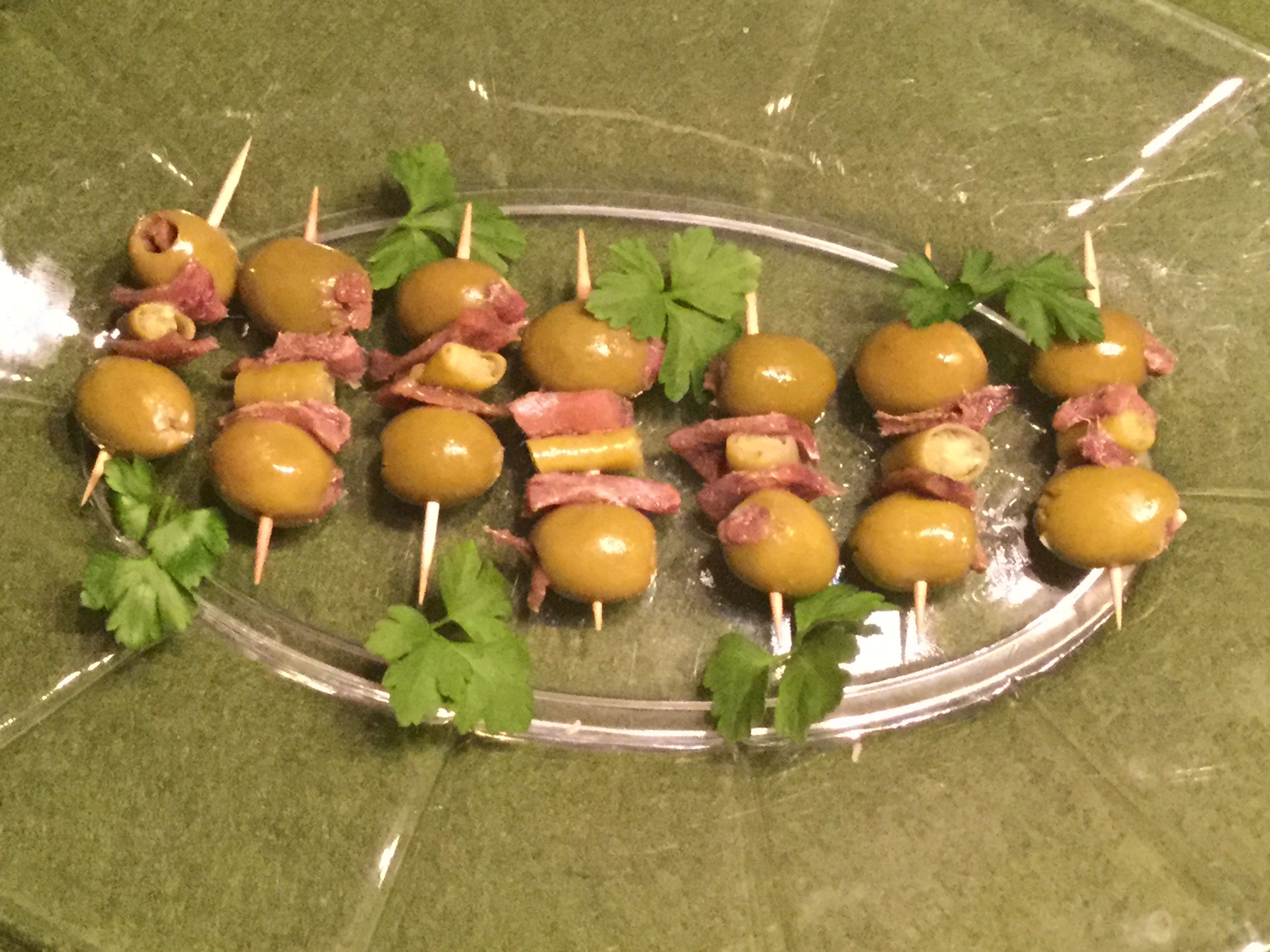 Pintxo Gilda (Basque Pepper, Olive, and Anchovy Skewers) AllrecipesPhoto