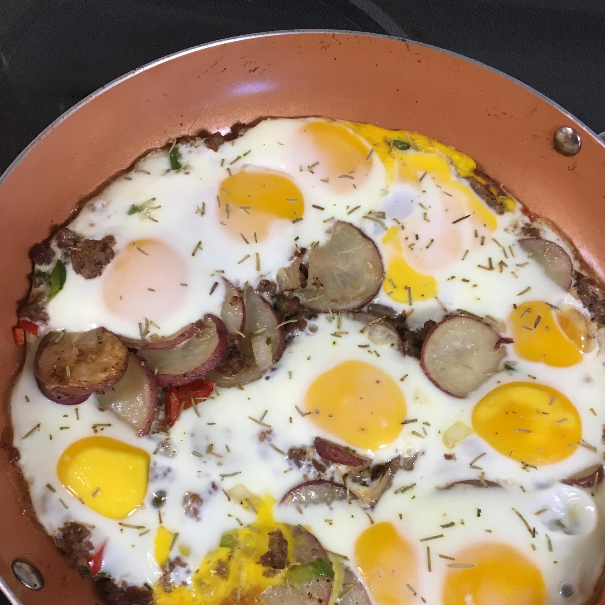 Cowboy Skillet: New Potato Medley, Italian Sausage & Eggs Kara