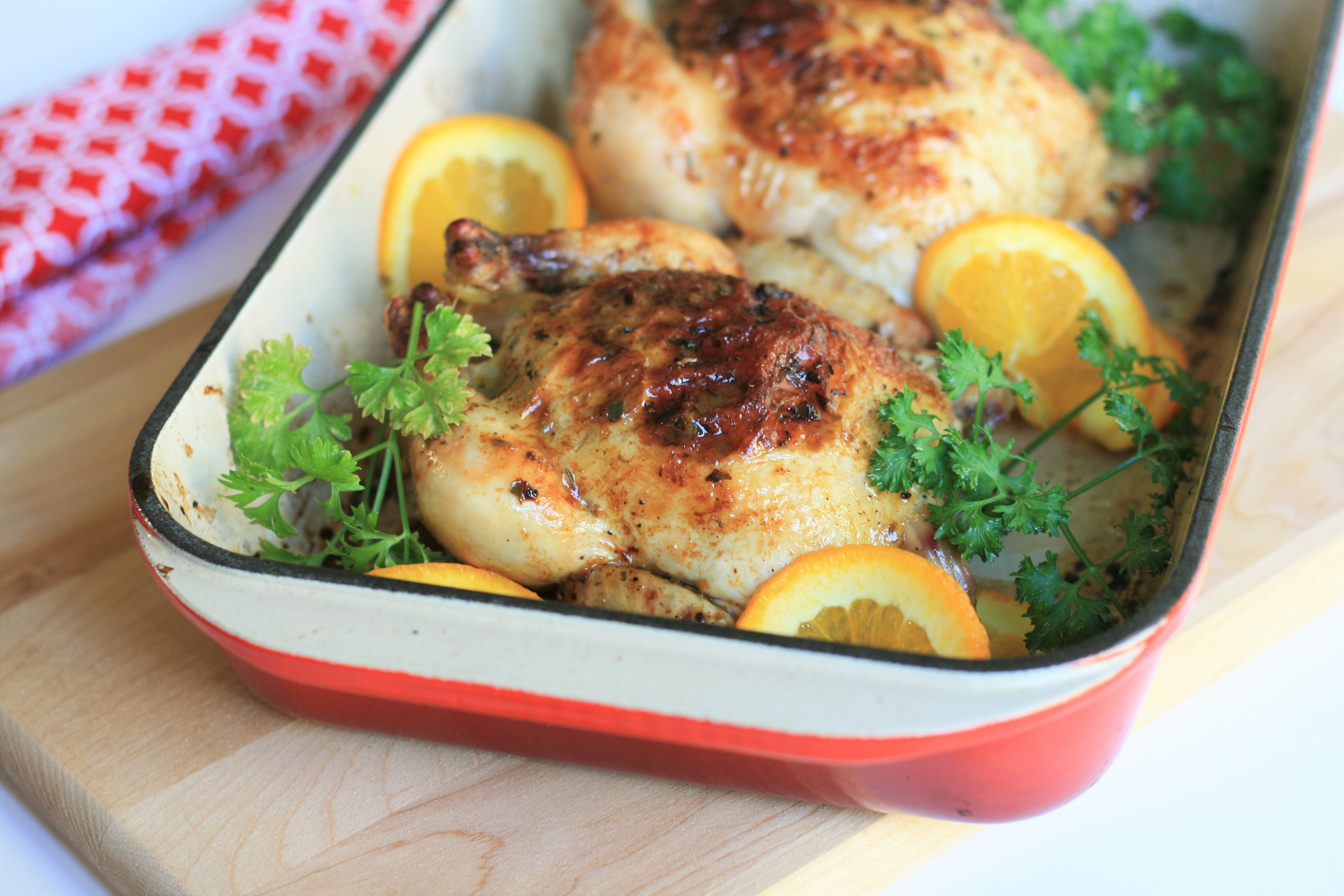 Roasted Orange-Tarragon Cornish Hens