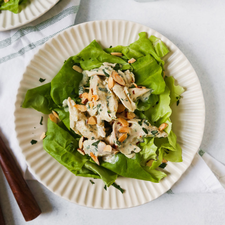 A simple dressing, using yogurt rather than mayo, moistens the chicken in this tasty lightened-up chicken salad. Plus, it's flavor-packed thanks to a quick-to-fix honey mustard. Whip up a batch while you're meal prepping for easy, packable lunches. Source: EatingWell.com, September 2018