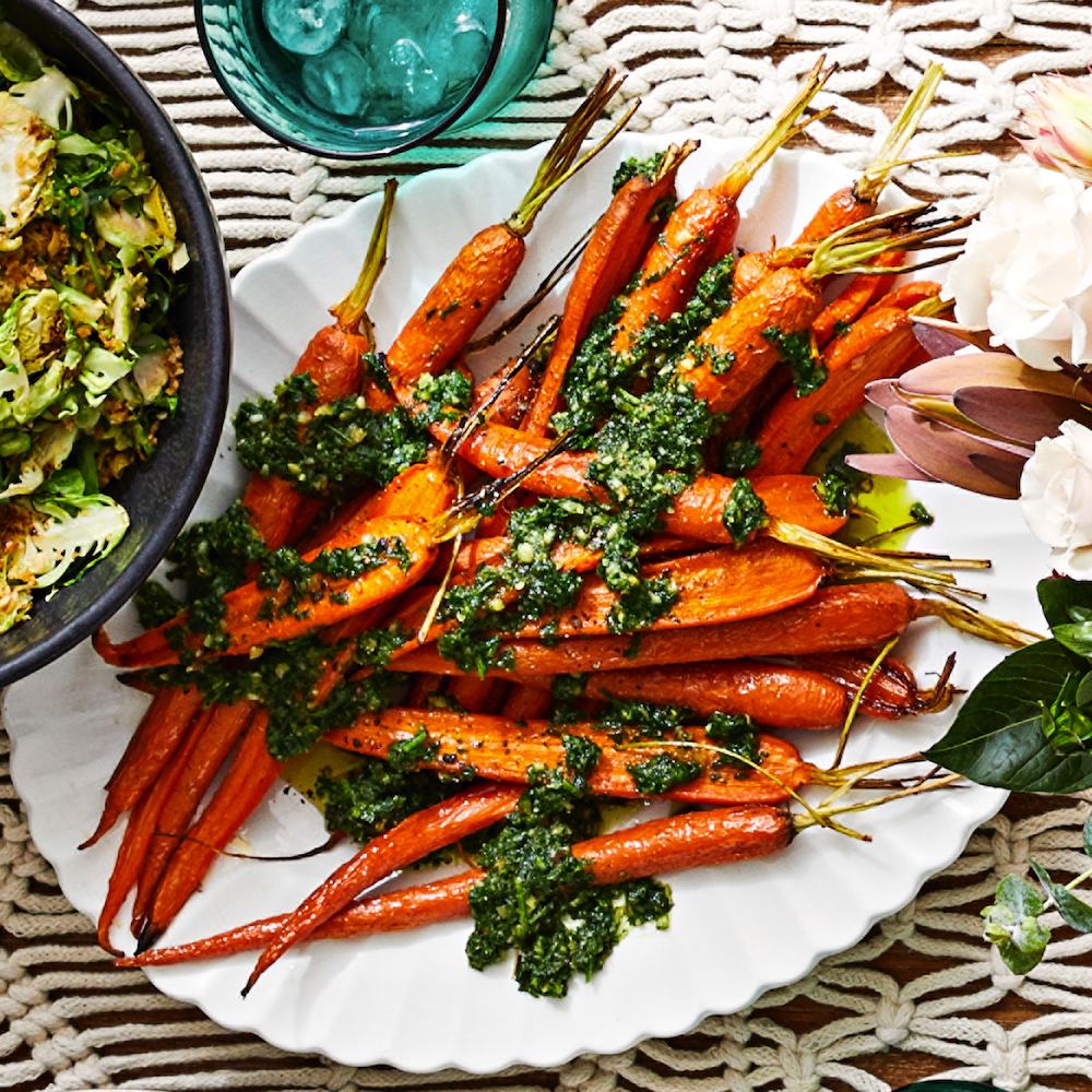 Maple-Roasted Carrots with Carrot-Top Pesto Allrecipes Magazine