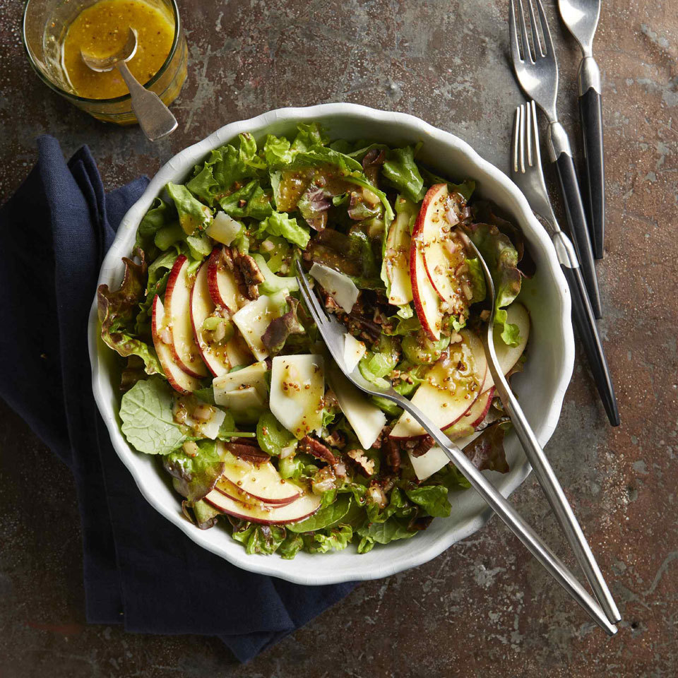 Apple & Cheddar Side Salad with Mustard Vinaigrette Hilary Meyer