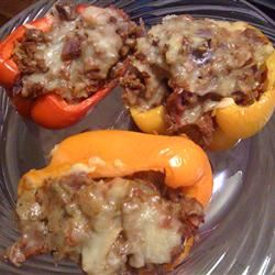 Stuffed Bell Peppers with Beef and Cabbage