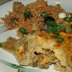 Quick and Easy Green Chile Chicken Enchilada Casserole