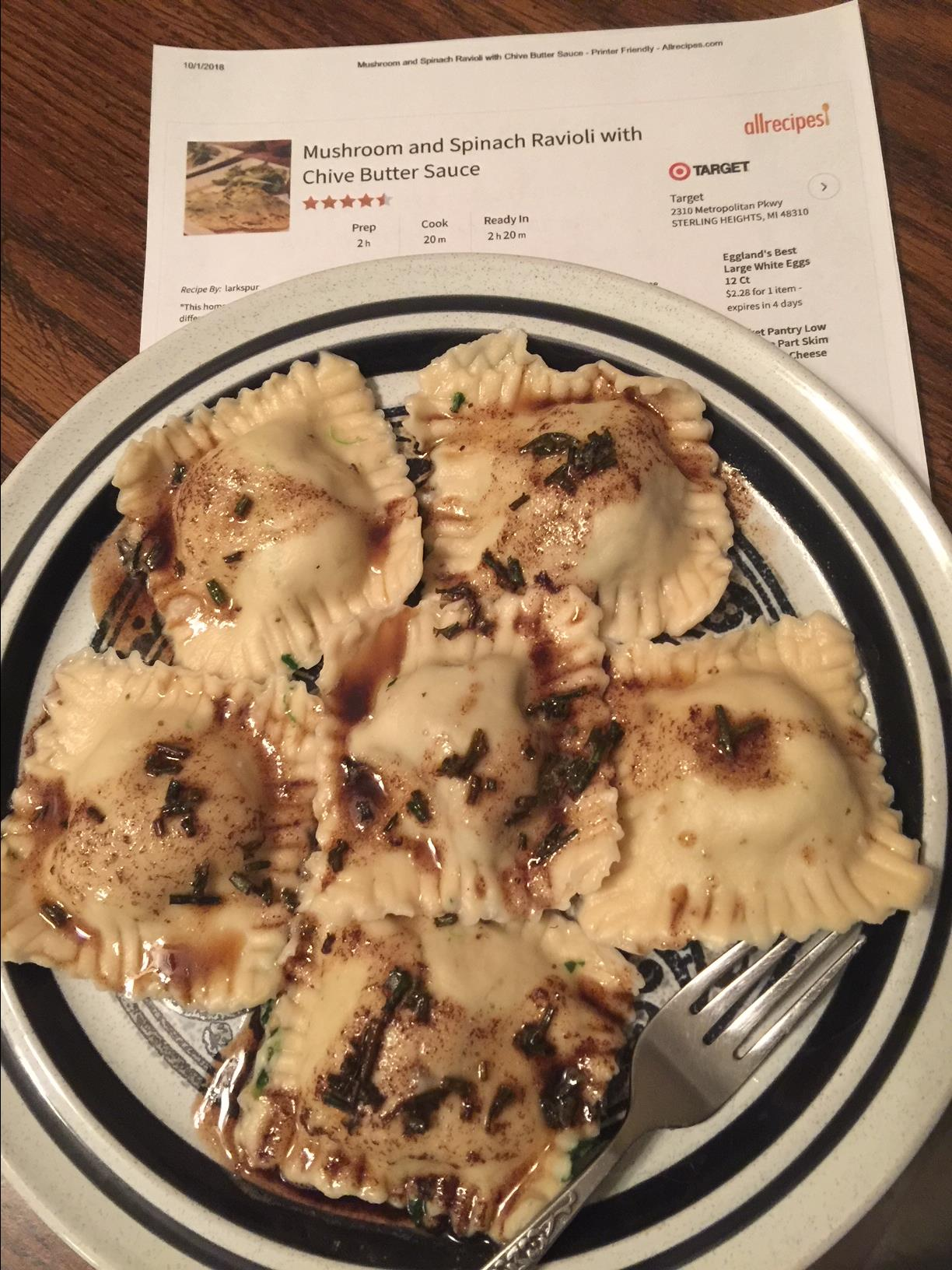 Mushroom and Spinach Ravioli with Chive Butter Sauce LuAnn Padgett