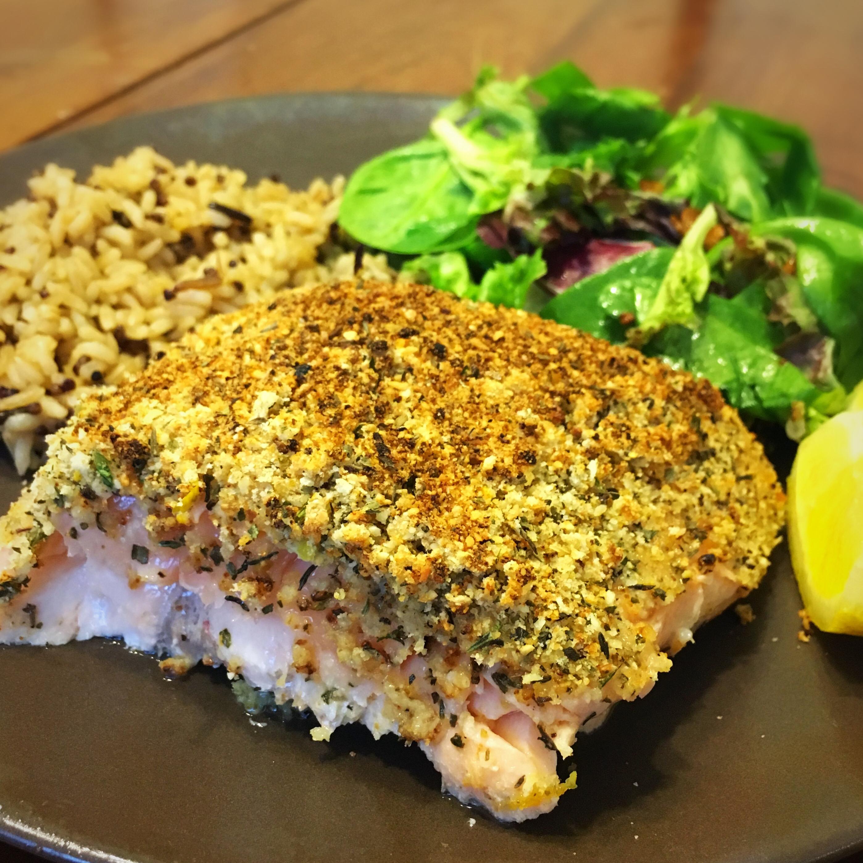 Baked Salmon with Basil and Lemon Thyme Crust stephasizzle