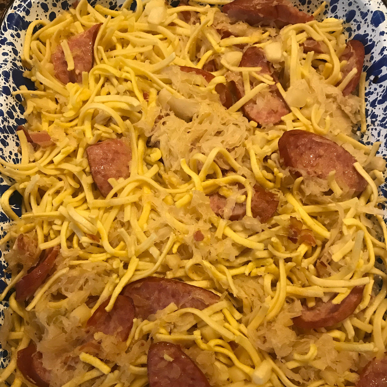 Spaetzle, Sauerkraut and Sausage Casserole Jenny Allen