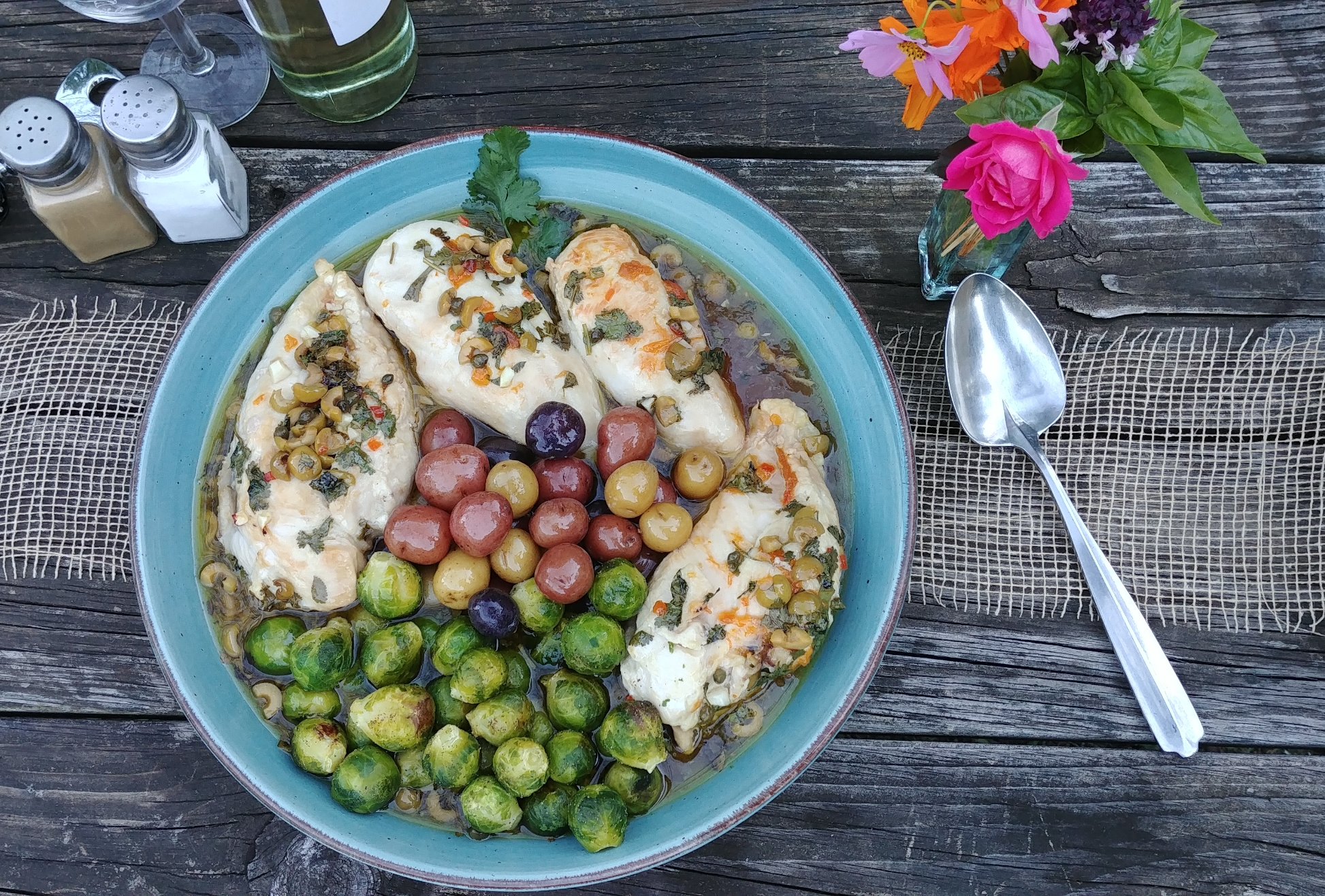 """Boneless chicken breasts with apricot jam, olives, red wine vinegar, and capers,"" says Ross Carozza. ""From some magazine, some place, at some time. It is one of my personal favorites."