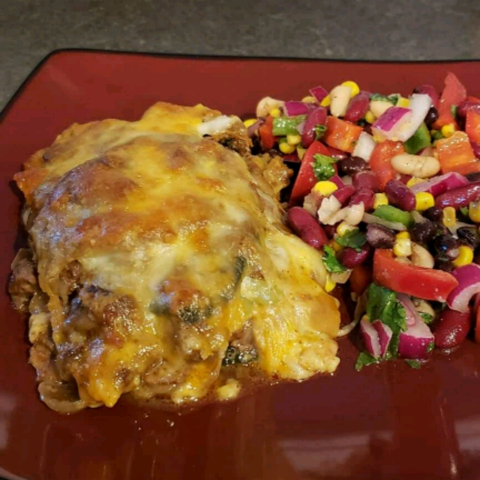 """This spicy casserole is a healthier, baked version of beef chiles rellenos, with roasted poblano peppers and cheese. """"Super-easy, delicious, and low-carb version of chiles rellenos,"""" says EmmLee. """"Serve with dollops of low-fat sour cream and pico de gallo or salsa."""""""