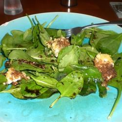 Spinach Salad with Baked Goat Cheese kellieann