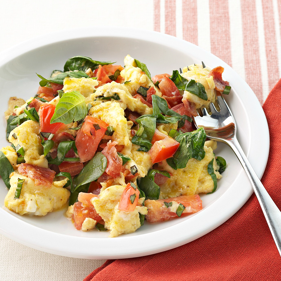 Instead of plain, boring scrambled eggs, try this jazzed up version! Extra egg whites provide added protein, and fresh spinach, turkey bacon, juicy tomatoes and fresh basil deliver gorgeous color and tantalizing taste. Source: Diabetic Living Magazine