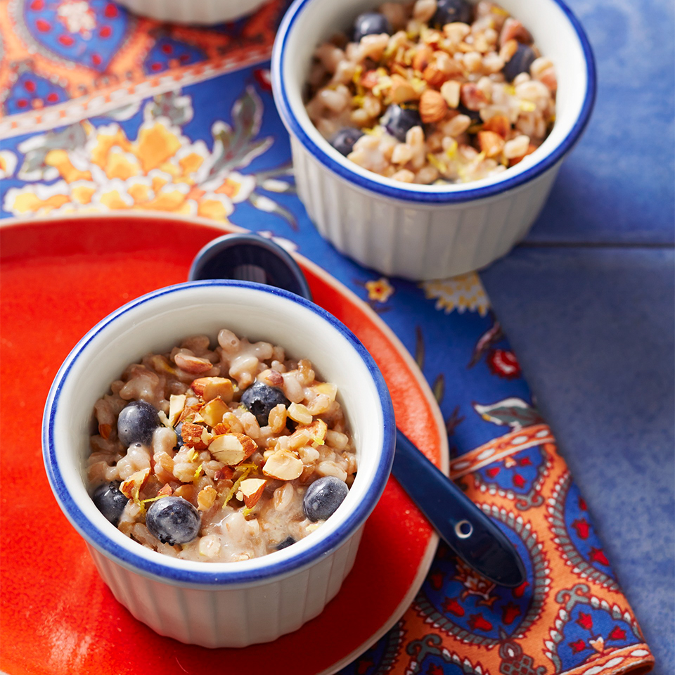 Farro is often served as a side dish but it's a great choice for breakfast, too. In this overnight cereal recipe, nutty whole-grain farro is joined by fresh, sweet blueberries and maple syrup. Unsalted, toasted almonds add a welcome crunch! Source: Diabetic Living Magazine