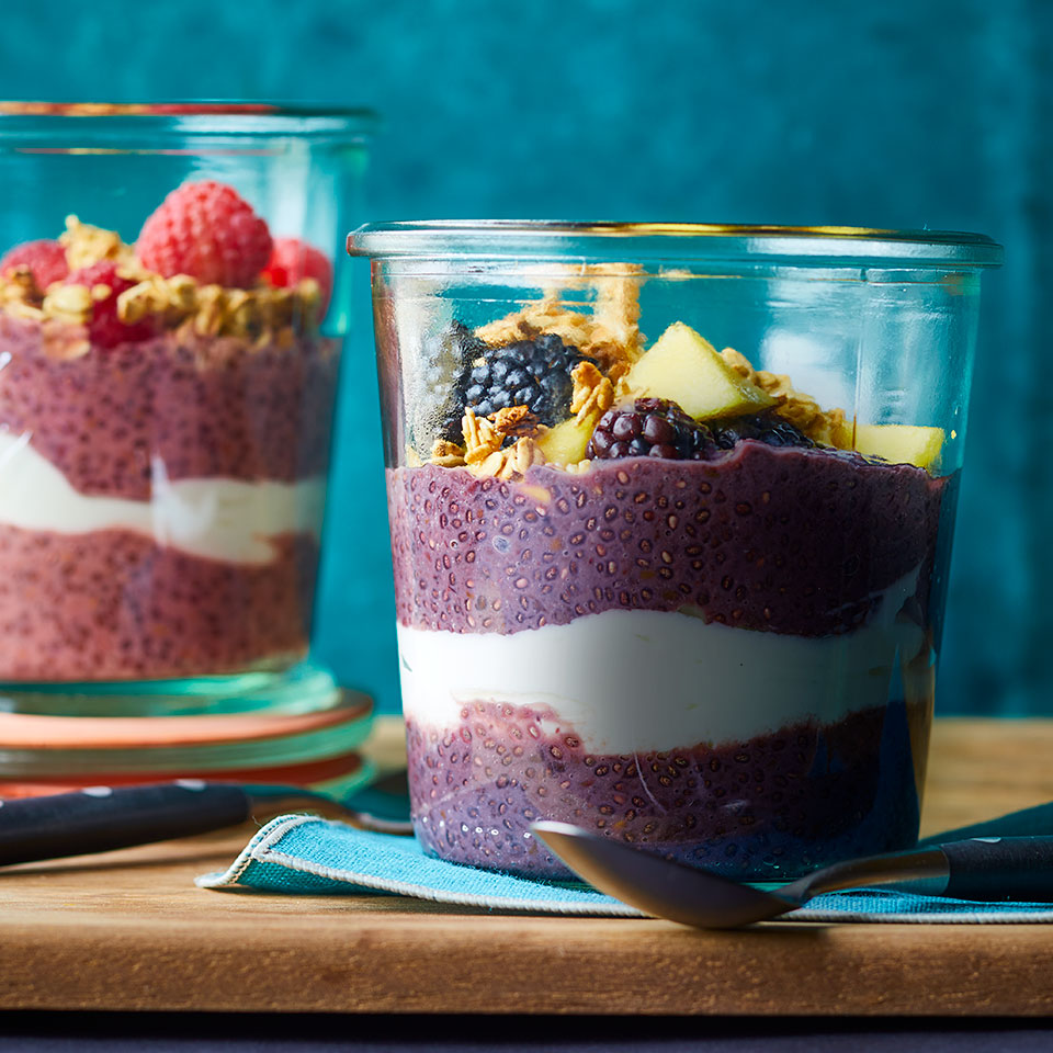 Chia seeds are a good source of healthy omega-3 fatty acids, plus they have fiber, iron and calcium. Here they're mixed with a fruity base and refrigerated until the chia seeds expand to form a thick, creamy texture similar to tapioca. Pudding for breakfast? We're in. Source: EatingWell Magazine, November/December 2018