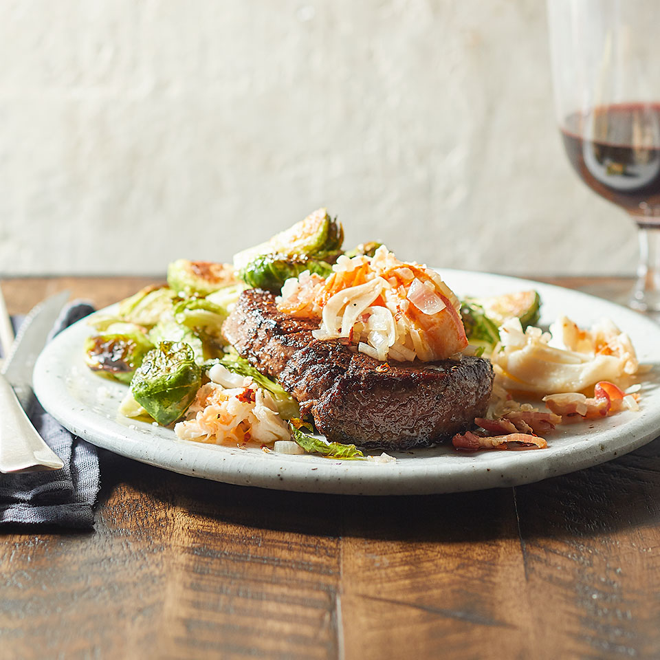 Lobster-Topped Tenderloin with Parmesan Brussels Sprouts Trusted Brands