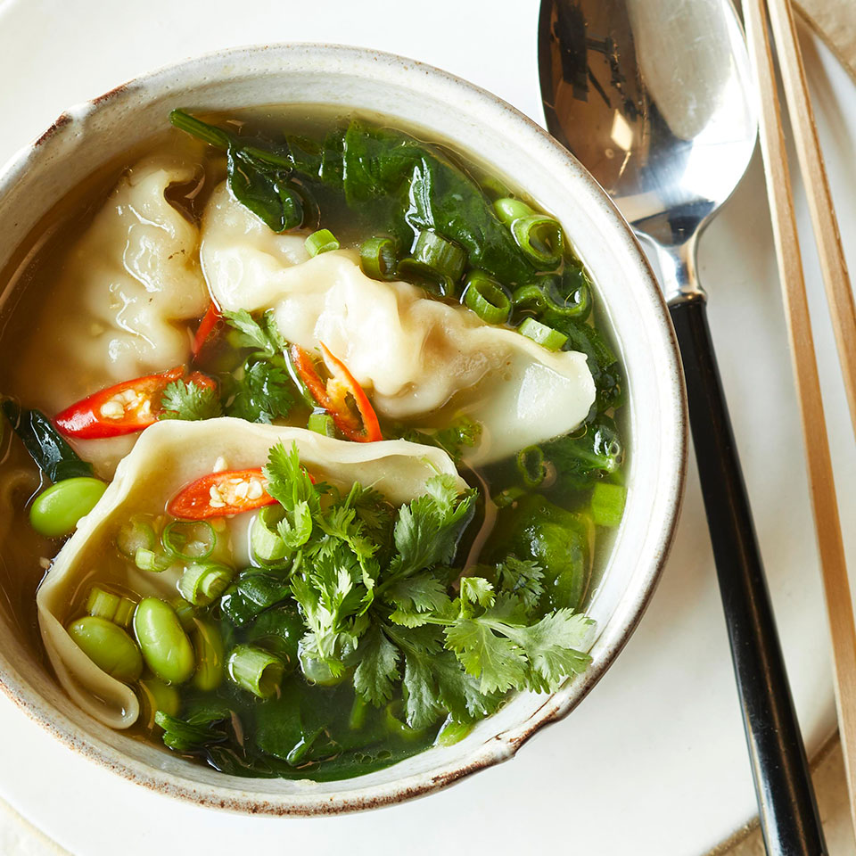 Skip the frying pan and make a full meal out of store-bought dumplings with this quick and easy 30-minute soup. Shao Hsing (or Shaoxing) is a seasoned rice wine used in Chinese cooking. Look for it in Asian specialty markets or with other Asian ingredients in large supermarkets. Source: EatingWell Magazine, November/December 2018