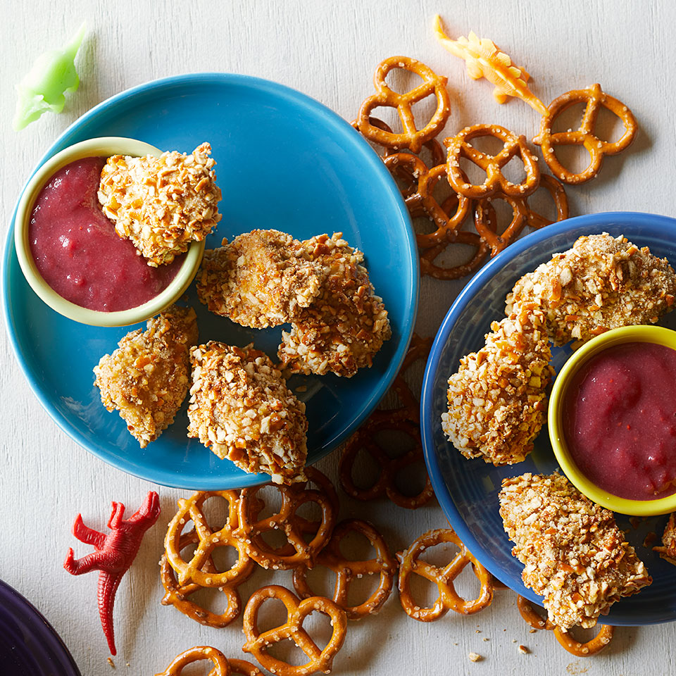 Adults and kids alike devour these crunchy pretzel-coated chicken nuggets. What really makes them special is the tart-sweet cranberry dipping sauce. Make some extra sauce to spread on post-holiday turkey sandwiches.