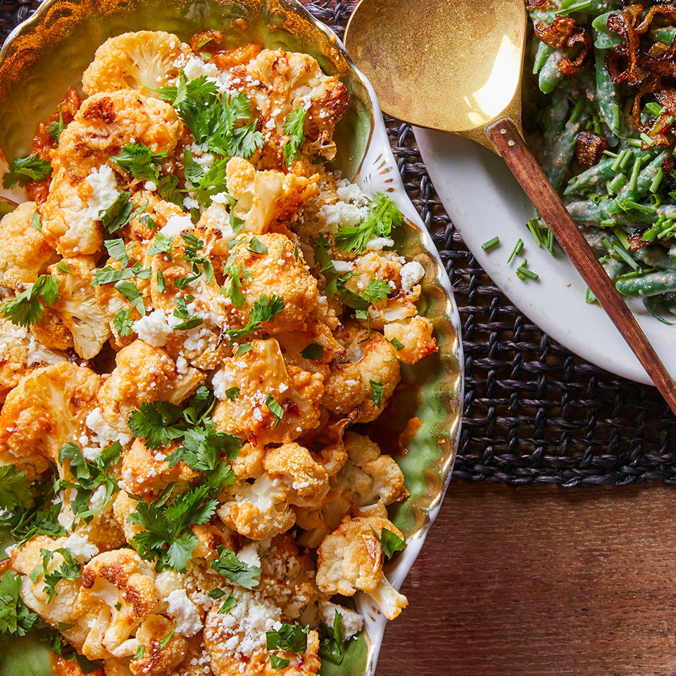 For this healthy cauliflower recipe, roasted florets are tossed in mojo, a Latin sauce that's gently spicy but can complement almost any other dish in your meal. If you can't find Cotija cheese, use another salty, crumbly cheese, such as feta. Source: EatingWell Magazine, November/December 2018