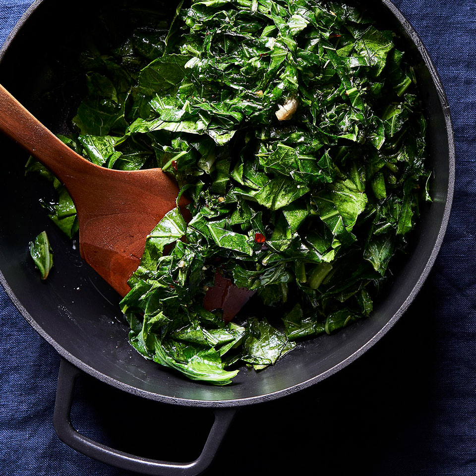 In a departure from typical Southern-style all-day stewed greens, these collards are sautéed first with a small amount of fat and then steamed, meaning tender-crisp healthy greens on the table in under a half hour. Source: EatingWell Magazine, November/December 2018