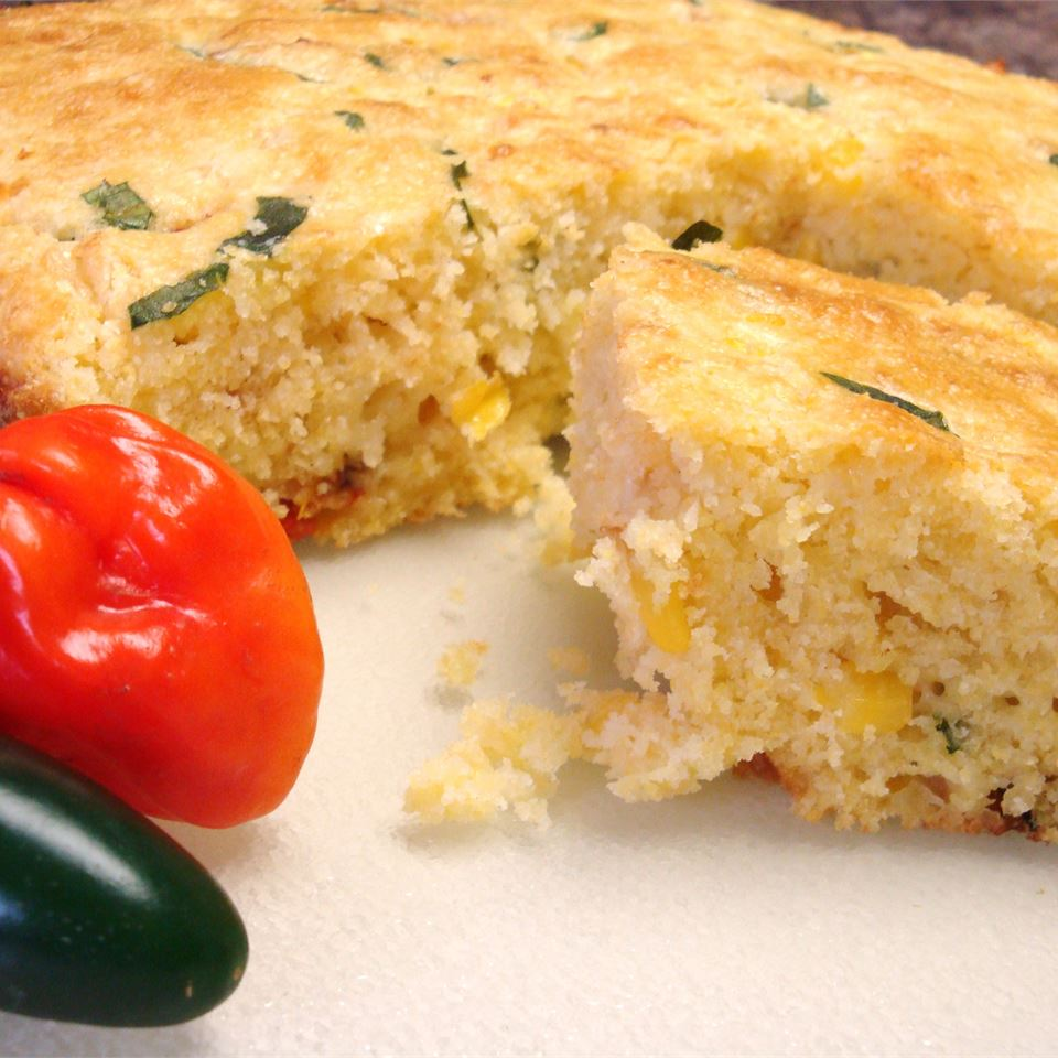 Basil, Roasted Peppers and Monterey Jack Cornbread Gitano