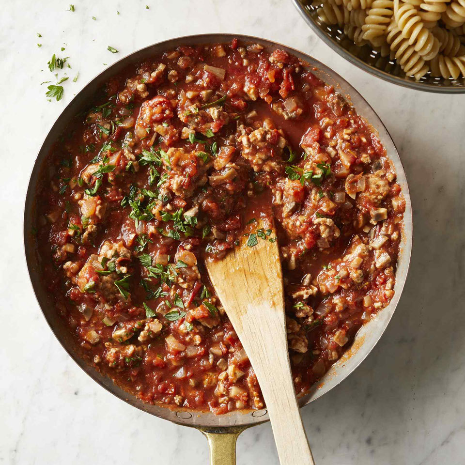 This lean Bolognese is made with ground turkey instead of ground beef and the result is just as delicious! Plus, finely chopped mushrooms are incorporated into the sauce (undetected!) for an easy way to eat more vegetables. Serve this healthy, hearty sauce with your favorite pasta, or over polenta with a sprinkling of Parmesan cheese. Source: EatingWell.com, October 2018