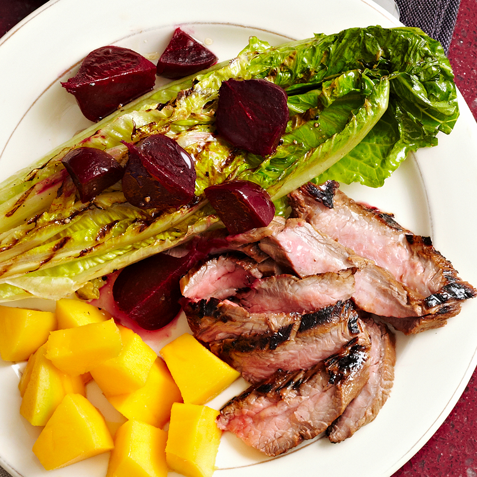 Grilled lettuce? Definitely! Romaine lettuce, seasoned with lemon juice and olive oil, is grilled quickly, topped with balsamic-marinated beets and served with tender flank steak in this crowd-pleasing recipe. Source: Diabetic Living Magazine