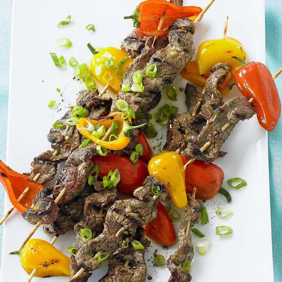 Grilled Island Beef Skewers with Tangy Citrus Drizzle Diabetic Living Magazine