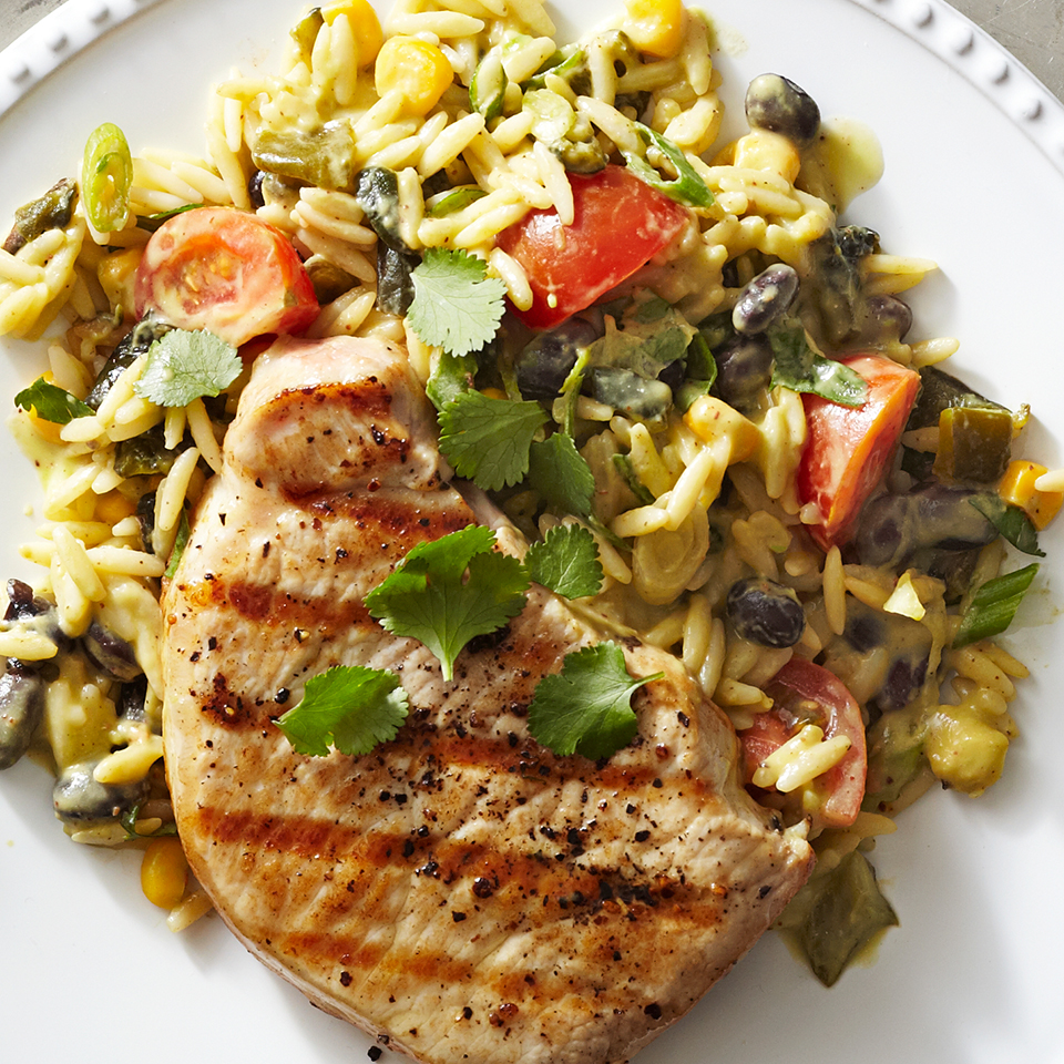 Grilled Pork Chops with Ancho-Avocado Orzo