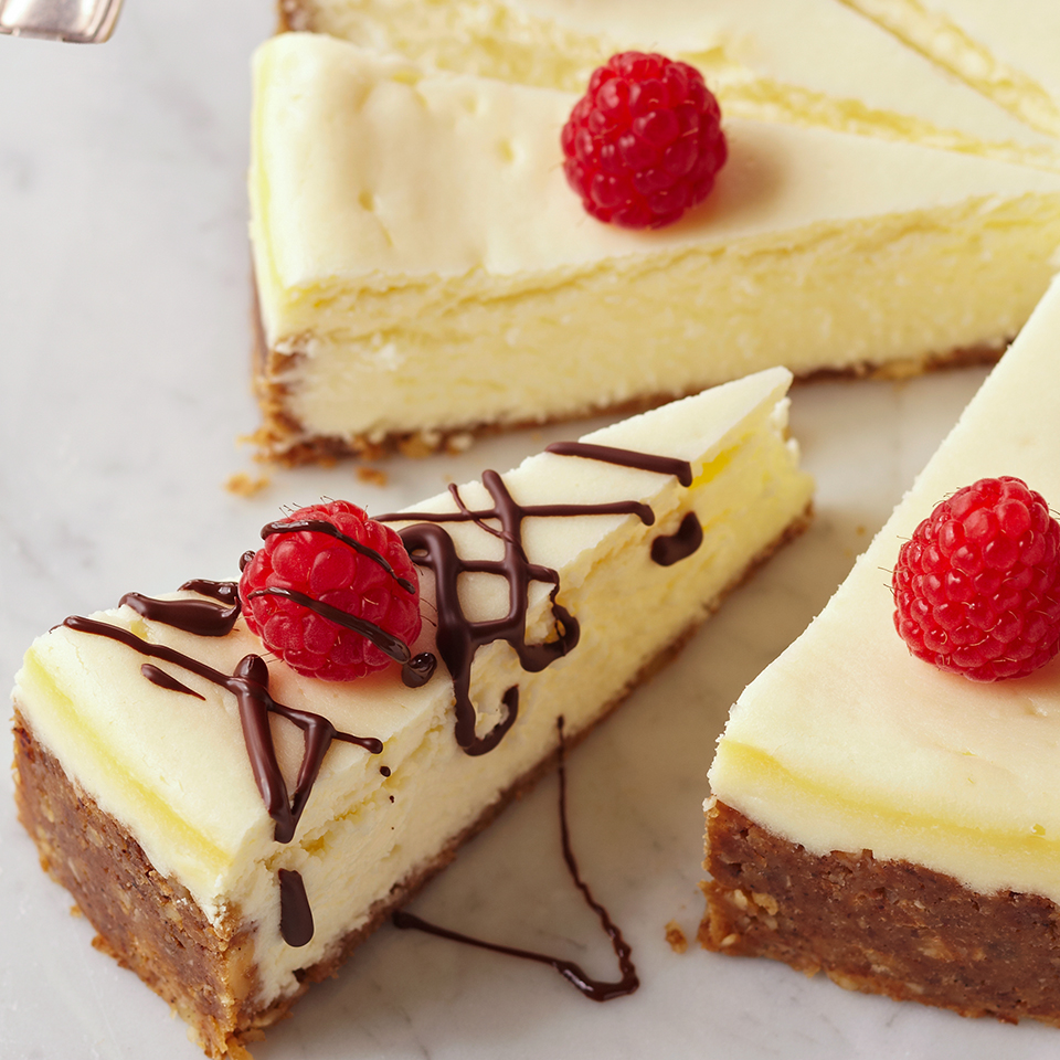 This elegant dessert is a real crowd pleaser! Made with a blend of fat-free cream cheese and mascarpone, this decadent cheesecake sits atop a graham cracker and hazelnut crust. For extra taste and presentation points, drizzle with melted chocolate and garnish with pomegranate seeds.
