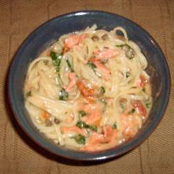Salmon and Spinach Fettuccine Albertina