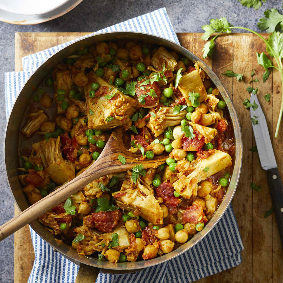 The stringy texture and mild flavor of canned jackfruit mimics chicken in this vegan curry recipe. Chickpeas add delicious crunch and protein for a satisfying meal. Serve over brown rice for an easy, healthy dinner. Source: EatingWell.com, October 2018