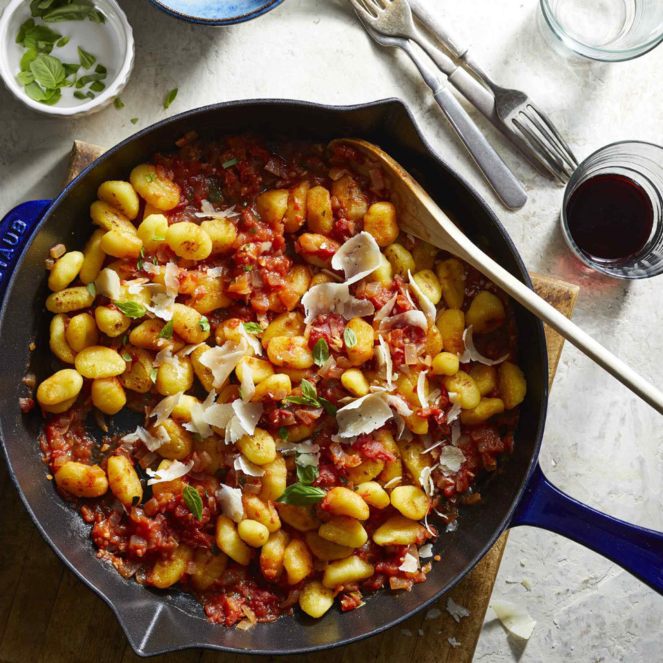 Classic tomato-basil sauce smothers tender gnocchi in this easy recipe. Using shelf-stable gnocchi makes this an easy vegan dinner. Eating gluten-free or just want to eat more vegetables? Try frozen cauliflower gnocchi instead. Source: EatingWell.com, October 2018