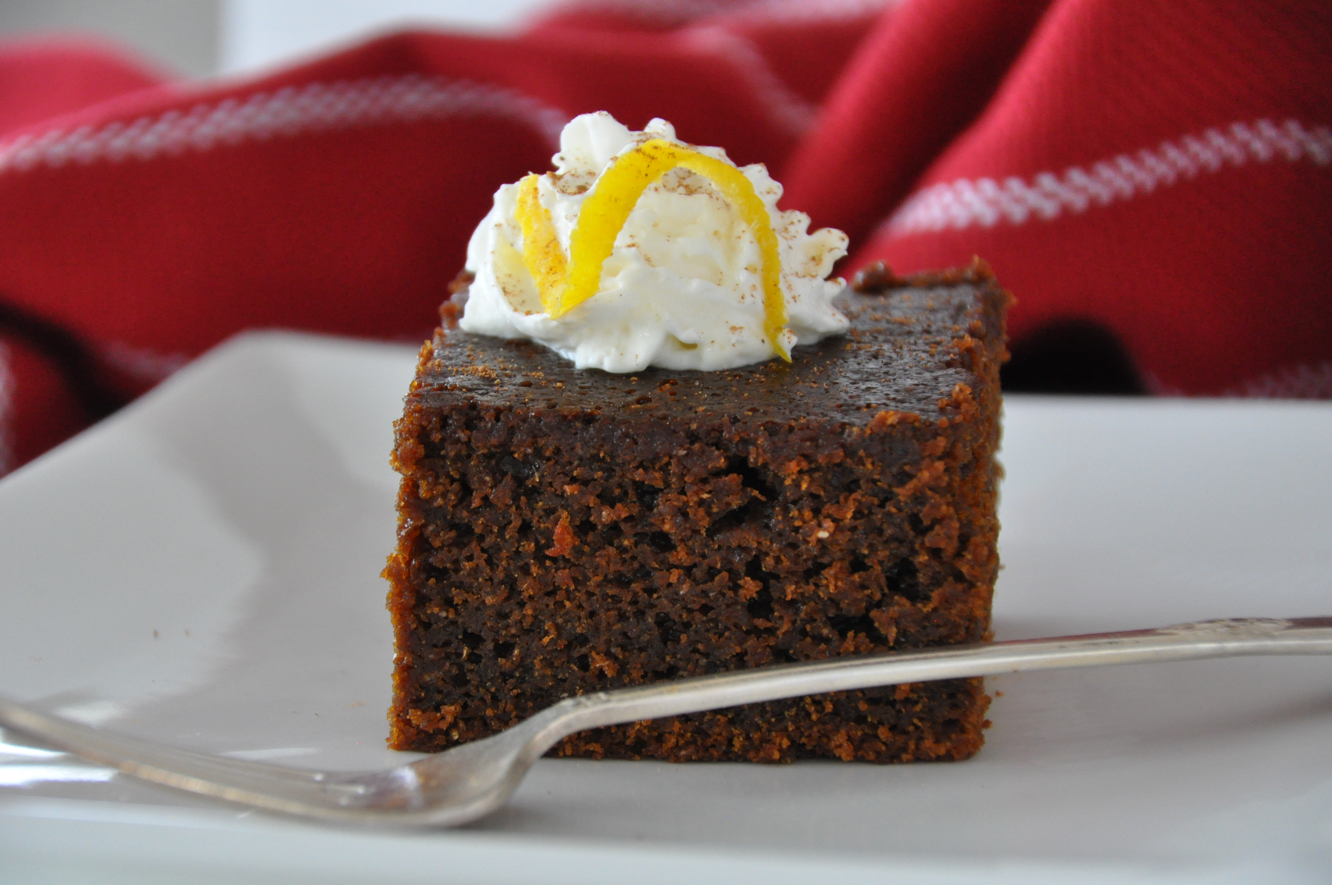 Dark Gingerbread with Maple Whipped Cream
