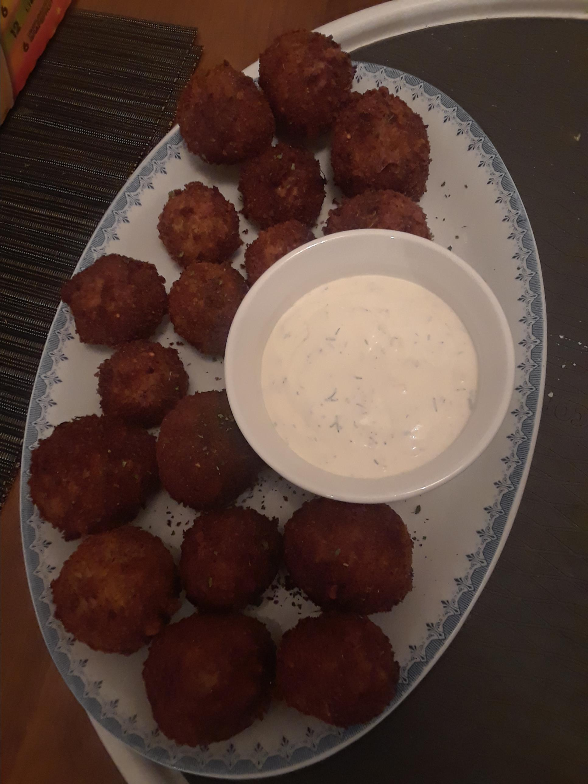 Mom's Potato Fritters with Lemon-Dill Dipping Sauce