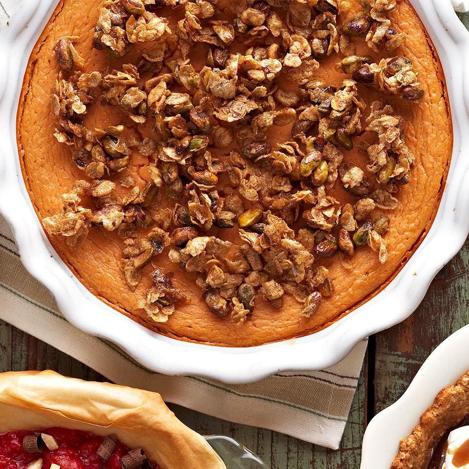 Crustless Pistachio-Topped Sweet Potato Pie Trusted Brands