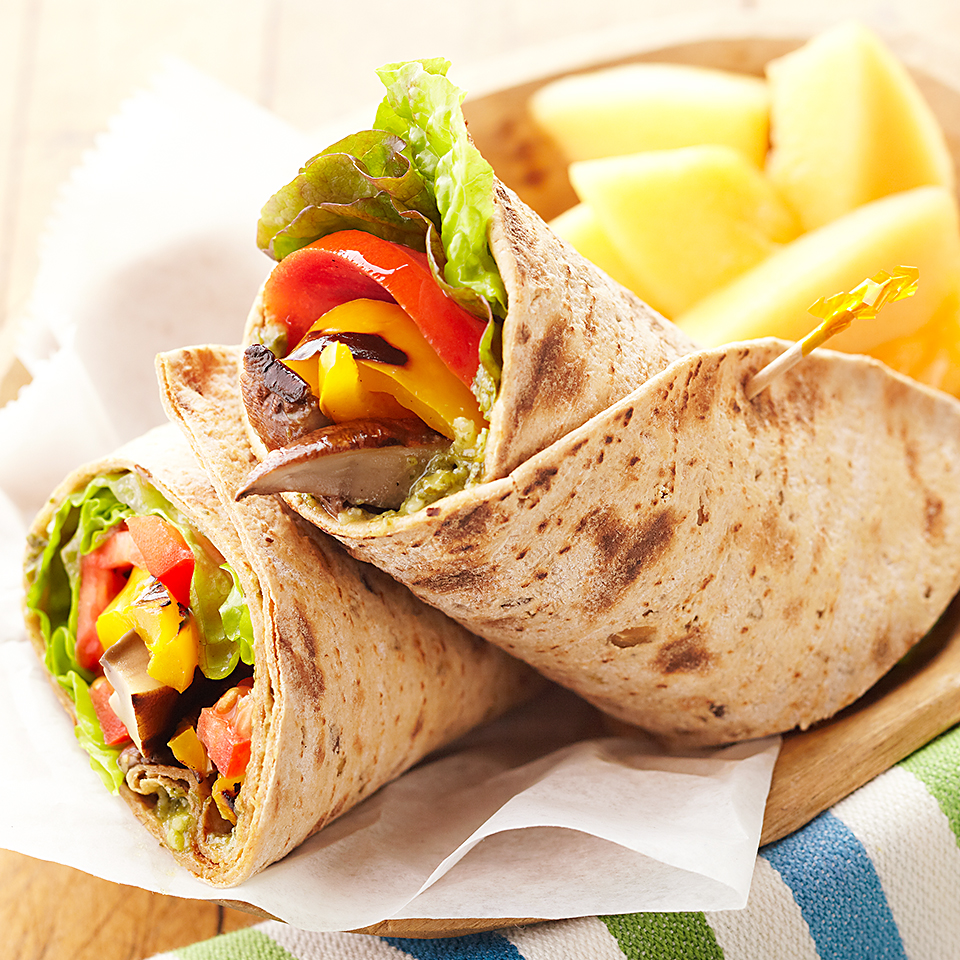In this meatless main dish, grilled marinated portobello mushrooms take center stage. Nested alongside bell peppers in a whole-wheat wrap that's been spread with delicious basil pesto, this dish is perfect for lunch or a light dinner. Source: Diabetic Living Magazine
