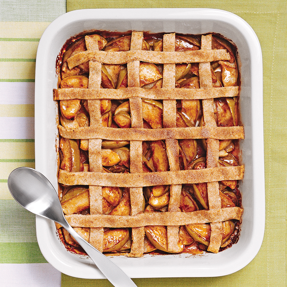 Apple pie has never been so quick to put together. After tossing unpeeled apples and spices in a baking dish, you'll assemble a quick lattice from pastry strips. This lattice topping is not woven like a traditional one--it takes less time to assemble this way but is just as eye catching! Source: Diabetic Living Magazine
