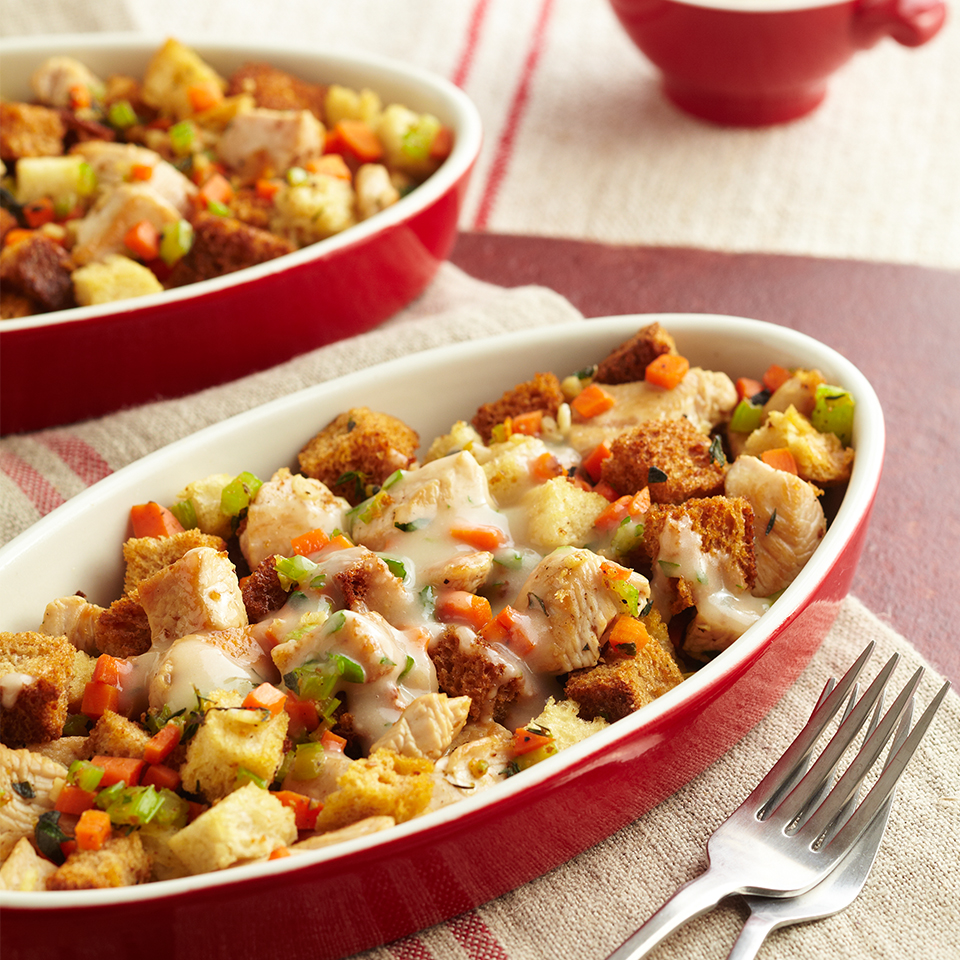Why wait for the holidays to enjoy turkey and stuffing? Here, the dynamite duo becomes a hearty main-dish casserole you can enjoy--without a fat-and-calorie splurge--any time of year.