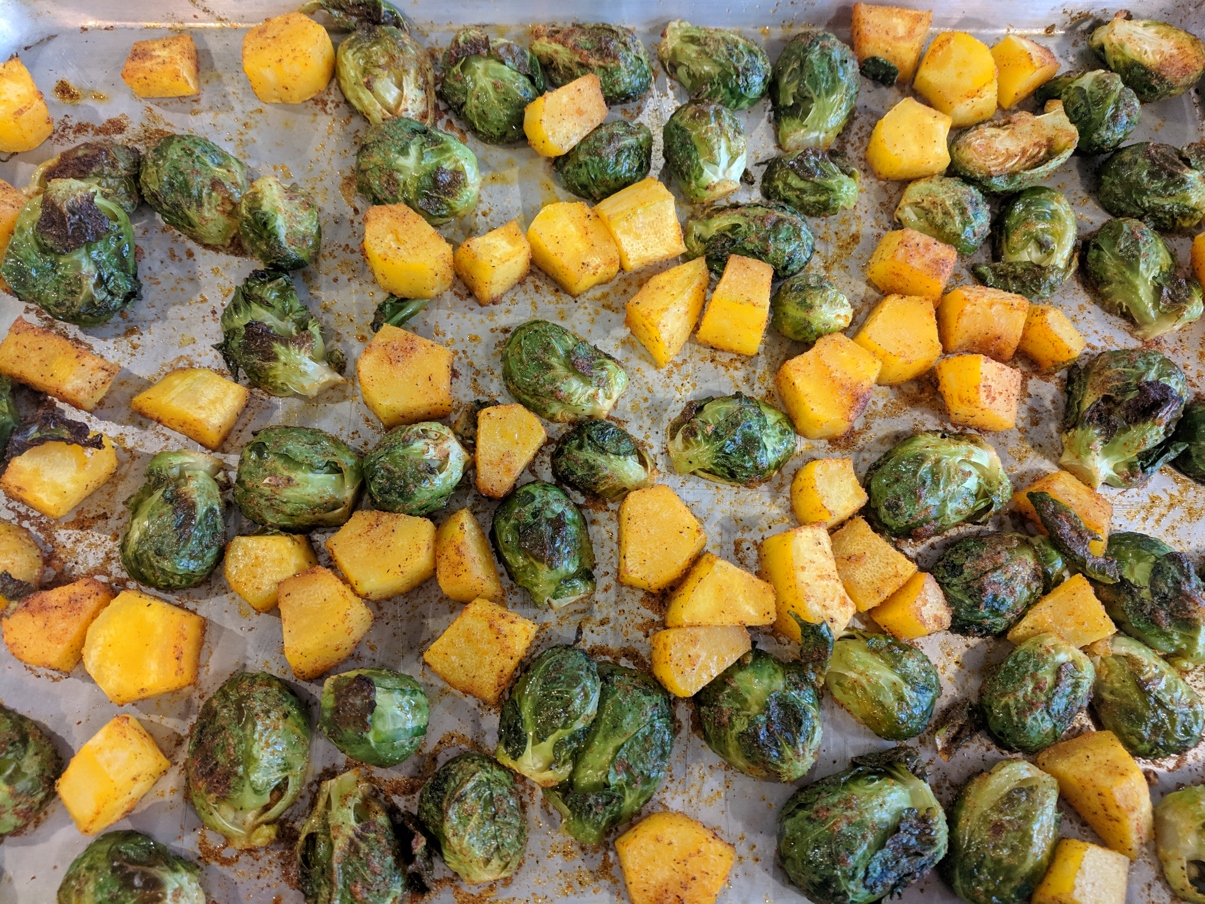 Sheet Pan Vegan Roasted Brussels Sprouts and Butternut Squash Grace Preya.