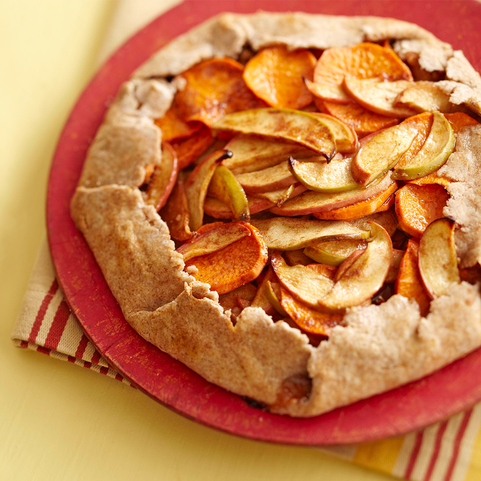 Using a combo of green- and red-skin apples gives the filling in this apple-sweet potato tart a pleasing touch of color. Look for Granny Smith, Newtown Pippin and Golden Delicious, as well as McIntosh, Empire and Braeburn varieties. Source: Diabetic Living Magazine