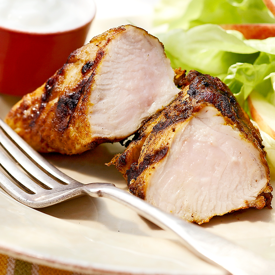 In this carb-conscious recipe, creamy low-fat yogurt cools the spicy heat of the curry- and cumin-rubbed turkey. Source: Diabetic Living Magazine