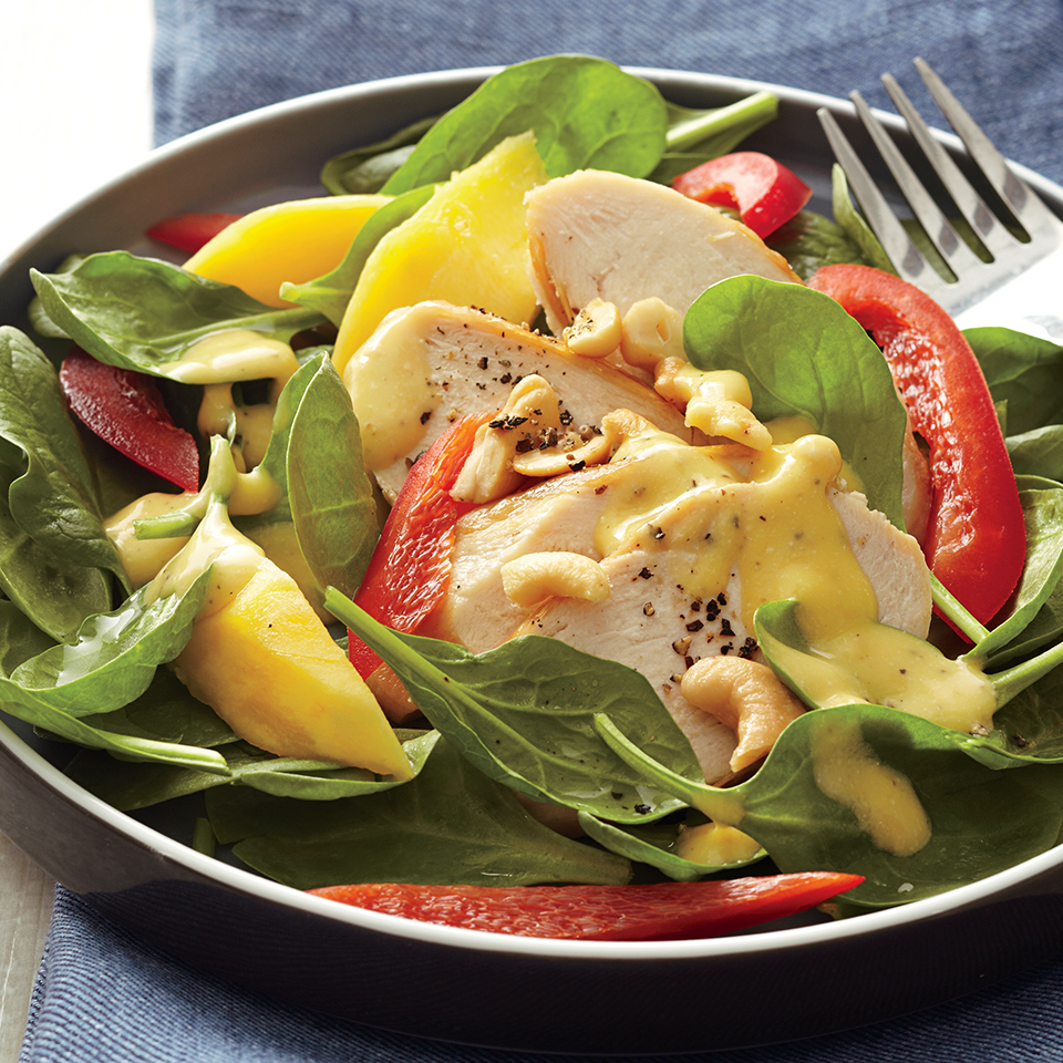 Spinach Chicken Salad with Mango Dressing Diabetic Living Magazine